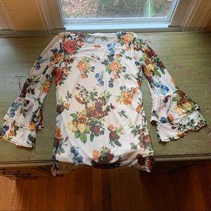 Tops - Sheer Floral Print Blouse